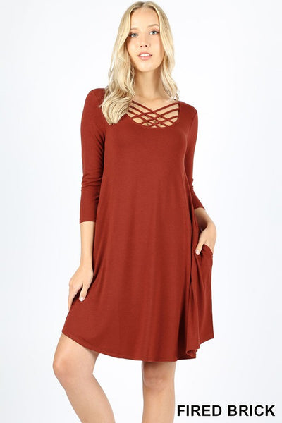 Josie Cross Front 3/4 Sleeve Swing Dress