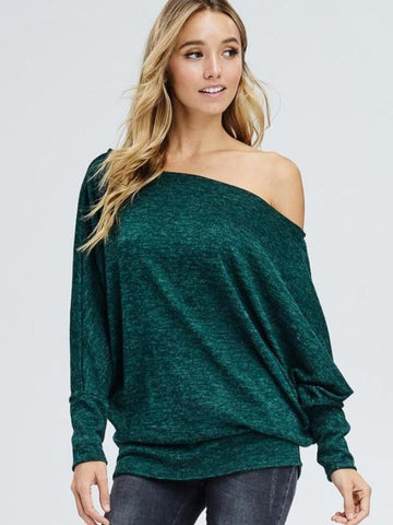 Curvy Sweater Weather Off the Shoulder Dolman Top