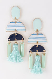 Adele Enamel & Tassel Drop Earrings
