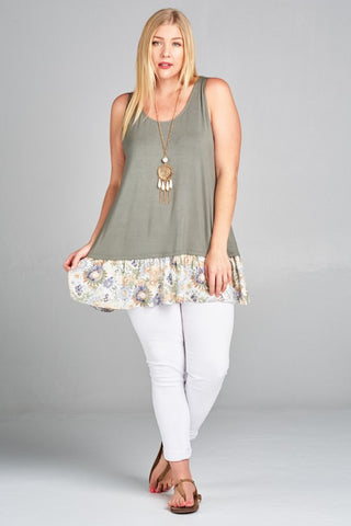 Alexis Plus Jersey Tank with Floral Hem