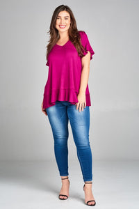 Andrea Flutter Sleeve Plus Top