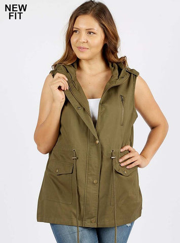 Curvy In-Vested in You utility vest with hood