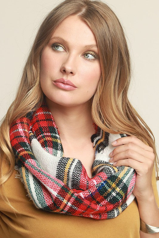 Classic Woven Plaid Infinity Scarf