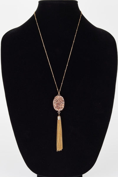 Druzy Pendant Necklace with tassel