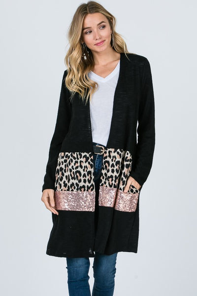 Animal & Sequin Cardigan with pockets