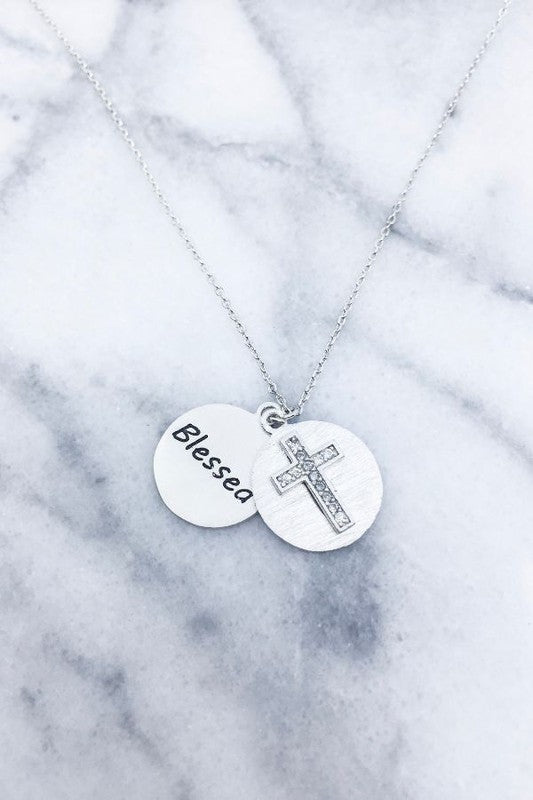 Engraved Blessed cross Medallion necklace