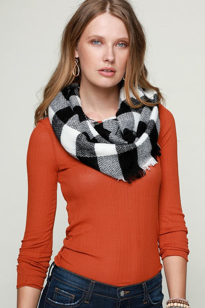 Woven Buffalo Checkered Infinity Scarf