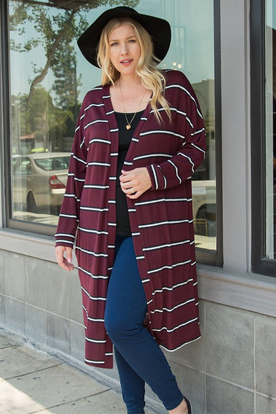 Curvy Varsity Striped open Cardigan with Pockets