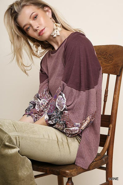 Sleeping Beauty Waffle top with Puff Sleeve