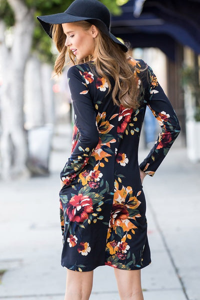 Curvy Fall Garden Long Sleeve Dress with Pockets