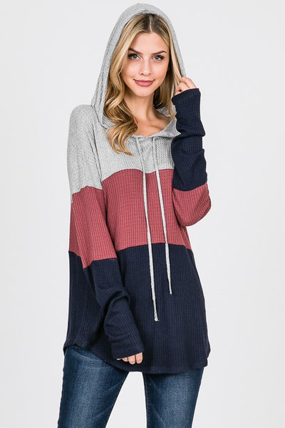 Color Block Waffle Hoodie S-XL