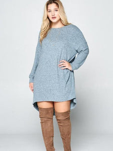 Curvy Heavenly Blue Hacci Hi-Lo top
