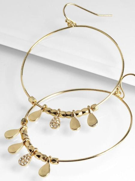 Gold Tone Hoops with Charm