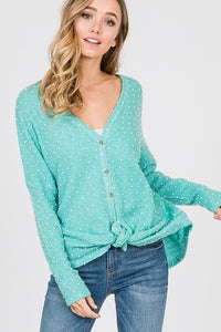 Curvy Dottie Button up tie front top