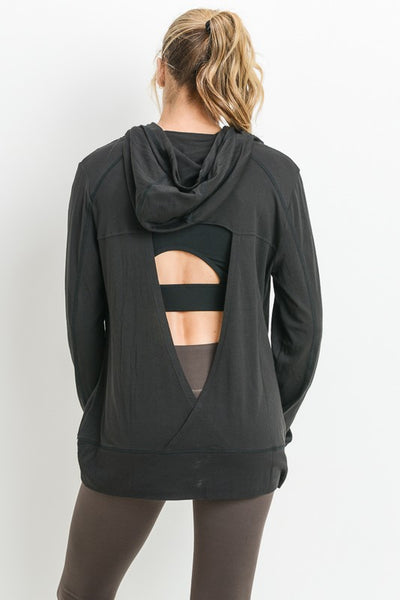 Knock Out Triangle Cutout Back Hoodie