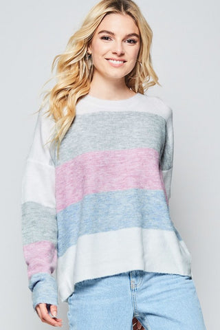 Curvy Shades of Spring Sweater Top