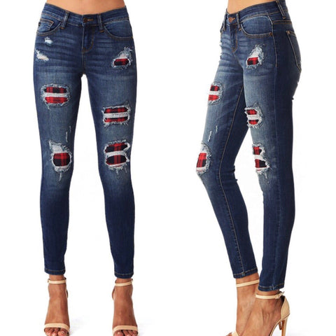 Curvy Plaid Obsessed Patch Destroyed Skinny Jean