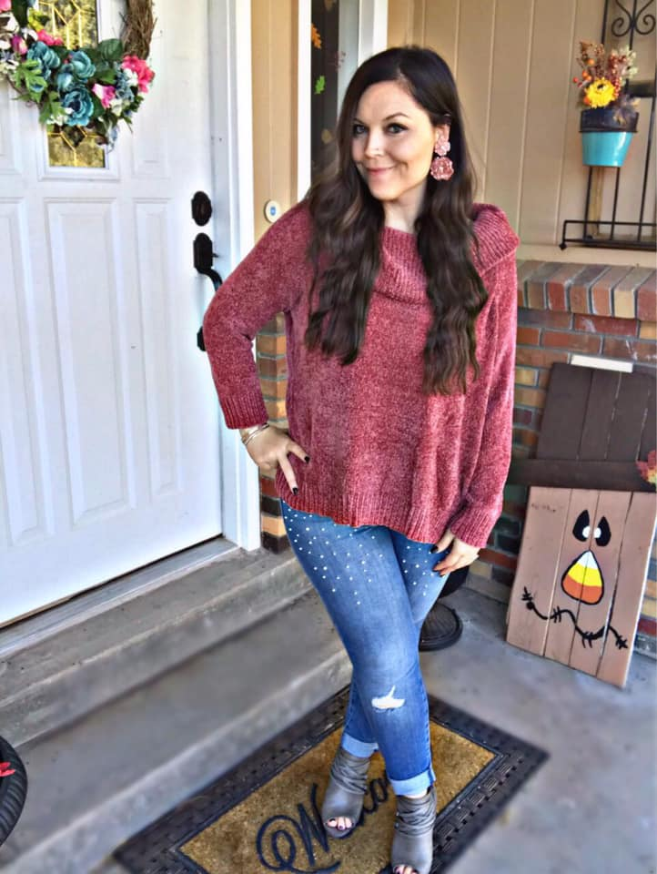 Blair long sleeve Chenille Knit Pullover dual wear Sweater