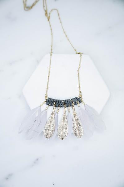 Margeurite Necklace with feathers