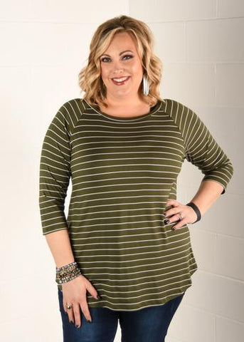 Curvy 3/4 Sleeve Striped Raglan Top