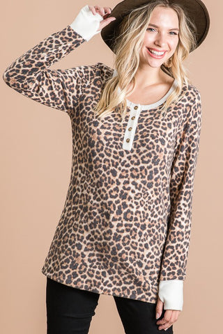 Animal Print Button Front Henley Tee S-XL