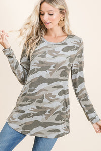 Long Sleeve Camo Print top S-XL