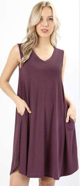 Kara Sleeveless V Neck Tank Dress with Pockets