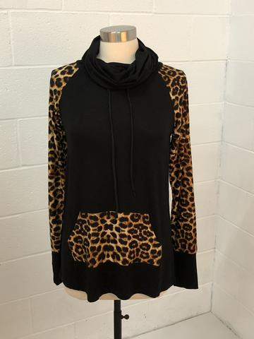 Curvy Leopard Funnel Neck with Thumbholes & front Pocket
