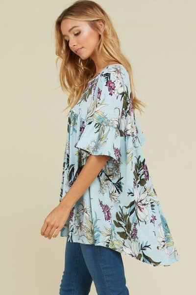 Rebecca floral print pleated high-lo bell sleeve top