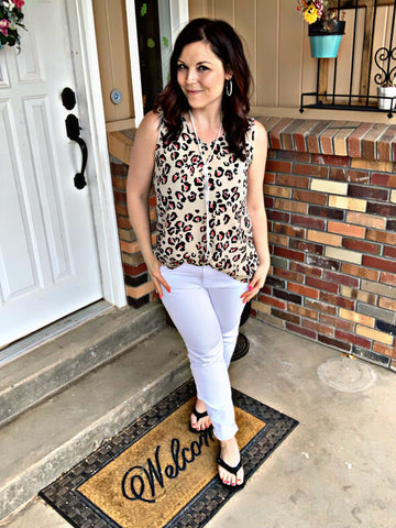 V-neck Animal Print Tank S-XL