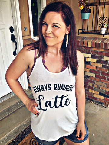 Always Running Latte Tank with Stripe Back