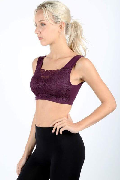 Lacey seamless bralette with front lace cover