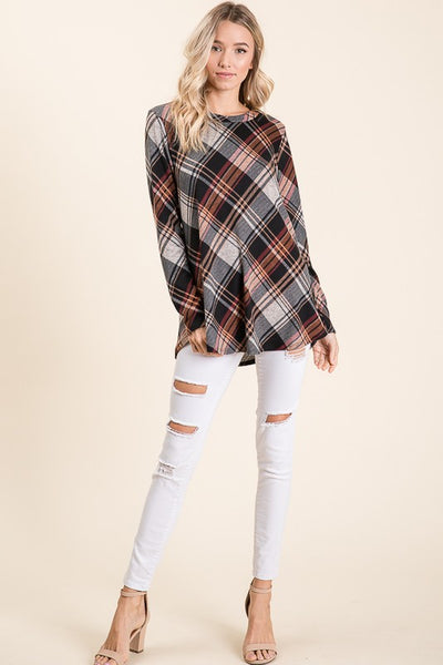 Plaid Longsleeve Knit Top S-XL
