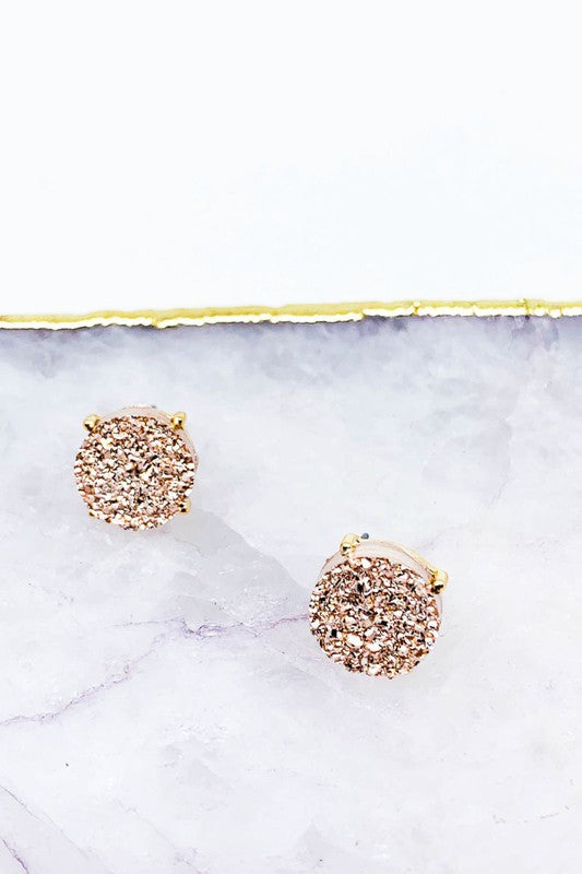 Round Druzy Post Stud Earrings 3 choices
