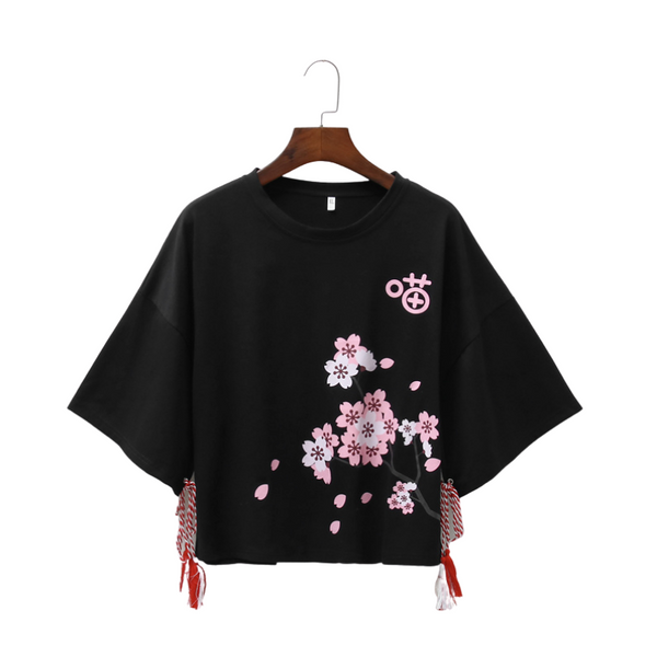 Cute japanese Sakura Cherry Blossom Loose Premium T-shirt for Women