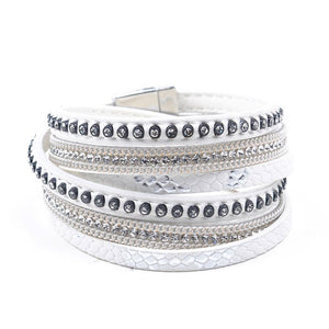 Crystal Leather Bangle Charm Bracelet For Women - Oh My Cuteness
