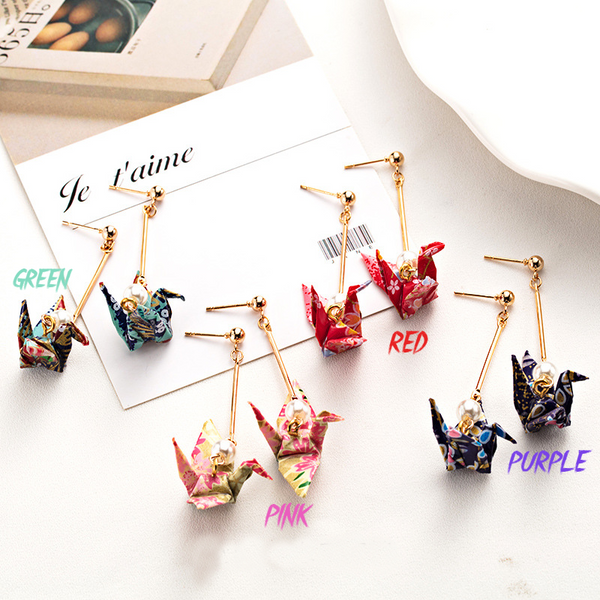 Tsuru Sakura™ | Japanese Origami Crane Earrings