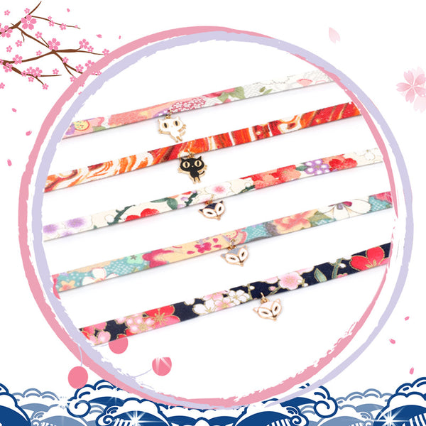 Floral Edition Japanese Style  Ribbon Necklace