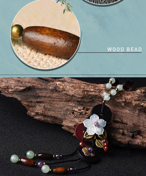 Heritage Series Flowers Necklace | Hand-Made Seashell & Natural Wood Pendant Necklace - Oh My Cuteness