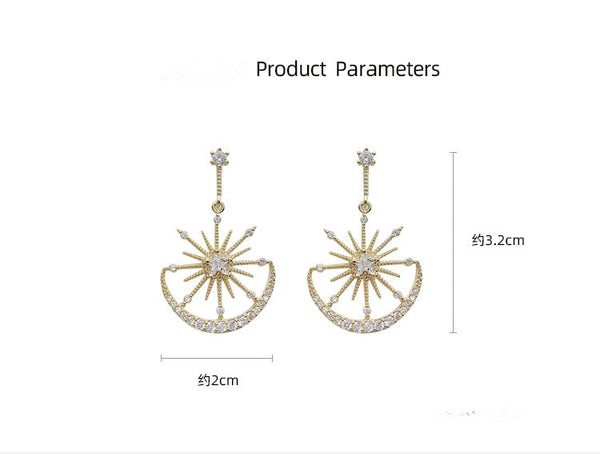 StarGazer™ Solar Moon Dangle Earrings | Crystal Earrings For Women