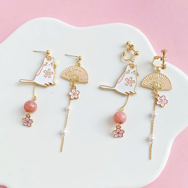 Pink Neko™ Earrings | Hand-Made Japanese style Pink Cat & Fan Earring for Women