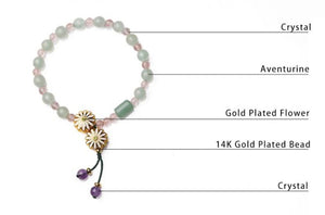 Heritage Series Gold Plated Flower Bracelet | Hand-Made with 14k gold plated bead, Natural Aventurine & Natural Crystals - Oh My Cuteness