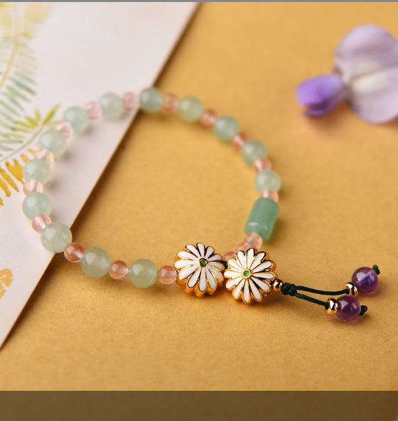 Heritage Series Gold Plated Flower Bracelet | Hand-Made with 14k gold plated bead, Natural Aventurine & Natural Crystals