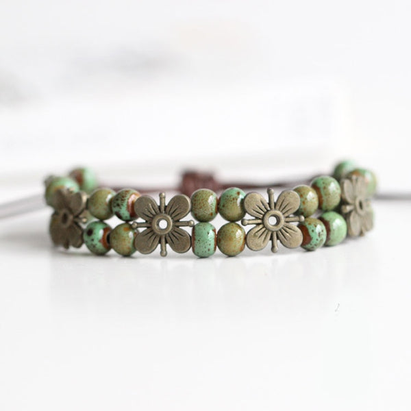 Ancient Flower | Hand made Ceramic Beads Double Bracelet - Oh My Cuteness