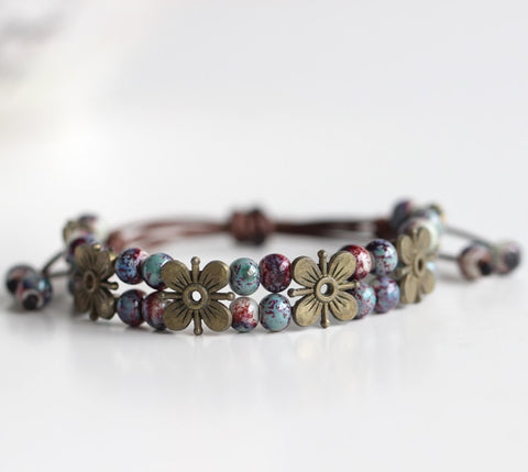 Ancient Flower | Hand made Ceramic Beads Double  Bracelet
