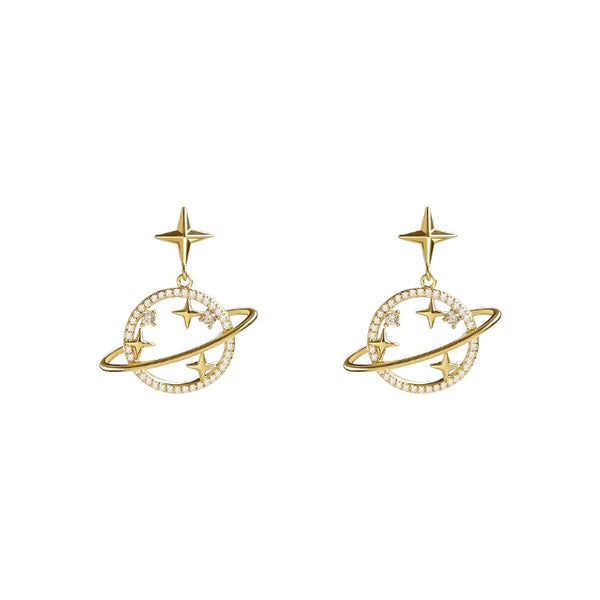 StarGazer™ Saturn Earrings | Hollow Saturn and Stars Earrings for Women