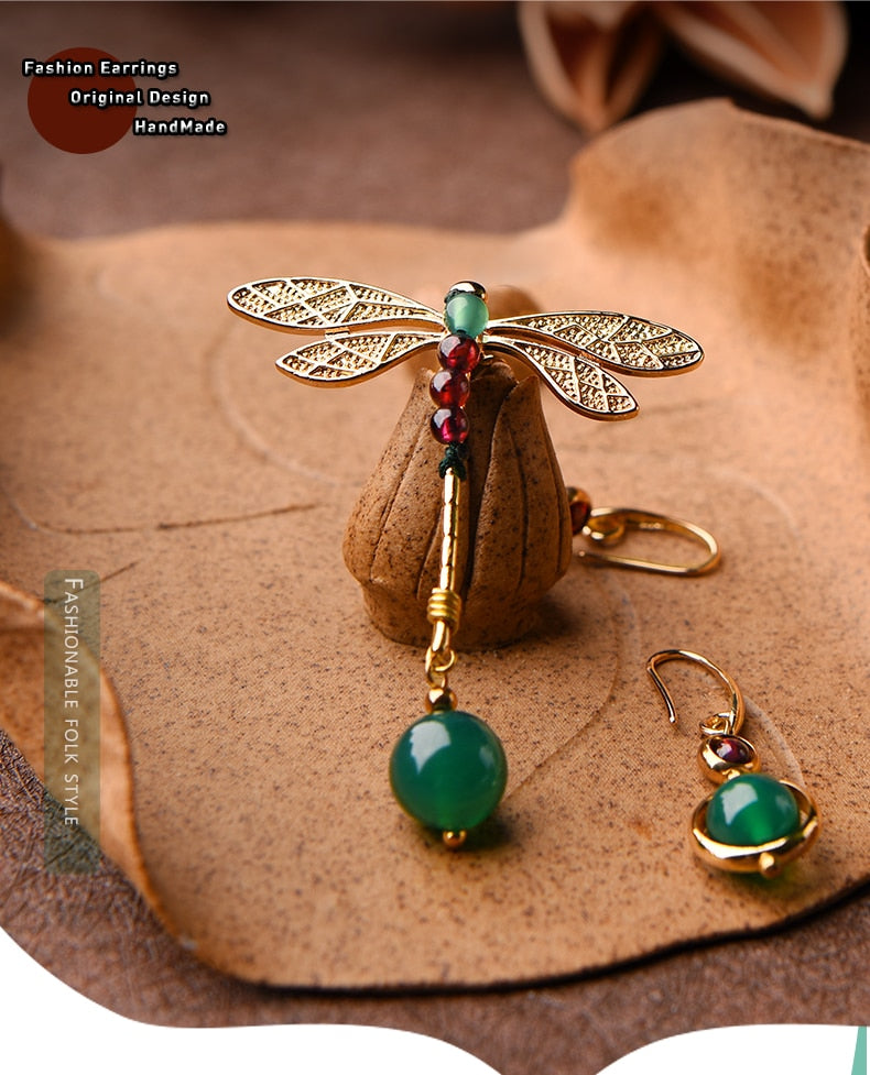 Heritage Series Dragonfly Earrings | Hand-Made Gold Plated & Natural Garnet Earrings - Oh My Cuteness