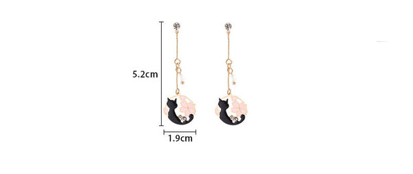 Pink Neko™ Earrings | Hand-Made Japanese style Round Cat & Sakura Earring for Women