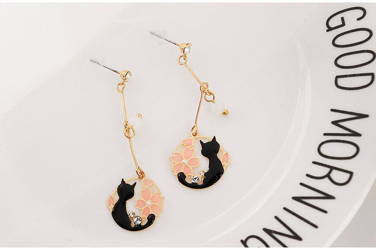 Pink Neko™ Earrings | Hand-Made Japanese style Round Cat & Sakura Earring for Women - Oh My Cuteness