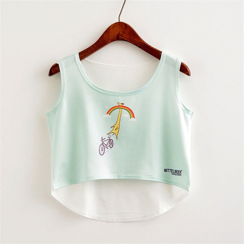Japanese Harajuku Summer Crop Tops | Sleeveless Women's Crop Top Colorful Prints | Tank Tops